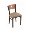 "630 Voltaire 18"" Chair with Black Wrinkle Finish, Rein Thatch Seat, and Medium Oak Back"