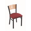 "630 Voltaire 18"" Chair with Black Wrinkle Finish, Allante Wine Seat, and Natural Oak Back"