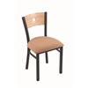 "Holland Bar Stool Co. 630 Voltaire 18"" Chair with Black Wrinkle Finish, Axis Summer Seat, and Natural Oak Back"