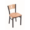 "Holland Bar Stool Co. 630 Voltaire 18"" Chair with Black Wrinkle Finish, Natural Oak Seat, and Natural Oak Back"