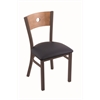 "Holland Bar Stool Co. 630 Voltaire 18"" Chair with Bronze Finish, Allante Dark Blue Seat, and Medium Maple Back"