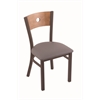 "Holland Bar Stool Co. 630 Voltaire 18"" Chair with Bronze Finish, Allante Medium Grey Seat, and Medium Maple Back"