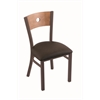 "630 Voltaire 18"" Chair with Bronze Finish, Rein Coffee Seat, and Medium Maple Back"