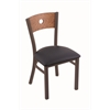 "Holland Bar Stool Co. 630 Voltaire 18"" Chair with Bronze Finish, Allante Dark Blue Seat, and Medium Oak Back"