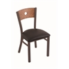 "630 Voltaire 18"" Chair with Bronze Finish, Allante Espresso Seat, and Medium Oak Back"