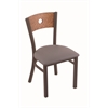 "Holland Bar Stool Co. 630 Voltaire 18"" Chair with Bronze Finish, Allante Medium Grey Seat, and Medium Oak Back"