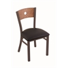 "630 Voltaire 18"" Chair with Bronze Finish, Black Vinyl Seat, and Medium Oak Back"
