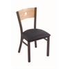 "630 Voltaire 18"" Chair with Bronze Finish, Allante Dark Blue Seat, and Natural Oak Back"