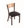 "Holland Bar Stool Co. 630 Voltaire 18"" Chair with Bronze Finish, Black Vinyl Seat, and Natural Oak Back"