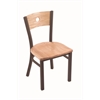 "Holland Bar Stool Co. 630 Voltaire 18"" Chair with Bronze Finish, Natural Oak Seat, and Natural Oak Back"