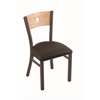 "630 Voltaire 18"" Chair with Bronze Finish, Rein Coffee Seat, and Natural Oak Back"