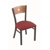 "630 Voltaire 18"" Chair with Pewter Finish, Allante Wine Seat, and Medium Maple Back"
