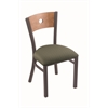 "Holland Bar Stool Co. 630 Voltaire 18"" Chair with Pewter Finish, Axis Grove Seat, and Medium Maple Back"