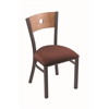 "Holland Bar Stool Co. 630 Voltaire 18"" Chair with Pewter Finish, Axis Paprika Seat, and Medium Maple Back"