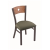 "Holland Bar Stool Co. 630 Voltaire 18"" Chair with Pewter Finish, Axis Grove Seat, and Medium Oak Back"
