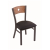 "Holland Bar Stool Co. 630 Voltaire 18"" Chair with Pewter Finish, Black Vinyl Seat, and Medium Oak Back"