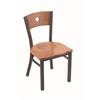 "Holland Bar Stool Co. 630 Voltaire 18"" Chair with Pewter Finish, Medium Oak Seat, and Medium Oak Back"