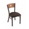 "630 Voltaire 18"" Chair with Pewter Finish, Rein Coffee Seat, and Medium Oak Back"