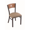 "Holland Bar Stool Co. 630 Voltaire 18"" Chair with Pewter Finish, Rein Thatch Seat, and Medium Oak Back"