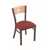 "630 Voltaire 18"" Chair with Pewter Finish, Allante Wine Seat, and Natural Oak Back"