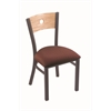 "Holland Bar Stool Co. 630 Voltaire 18"" Chair with Pewter Finish, Axis Paprika Seat, and Natural Oak Back"