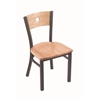 "Holland Bar Stool Co. 630 Voltaire 18"" Chair with Pewter Finish, Natural Oak Seat, and Natural Oak Back"