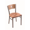 "630 Voltaire 18"" Chair with Stainless Finish, Medium Maple Seat, and Medium Maple Back"