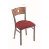"630 Voltaire 18"" Chair with Stainless Finish, Allante Wine Seat, and Medium Oak Back"