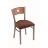 "Holland Bar Stool Co. 630 Voltaire 18"" Chair with Stainless Finish, Axis Paprika Seat, and Medium Oak Back"