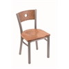 "Holland Bar Stool Co. 630 Voltaire 18"" Chair with Stainless Finish, Medium Oak Seat, and Medium Oak Back"