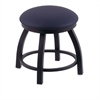 "Holland Bar Stool Co. 802 Misha 18"" Vanity Stool with Black Wrinkle Finish, Allante Dark Blue Seat, and 360 Swivel"
