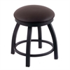 "Holland Bar Stool Co. 802 Misha 18"" Vanity Stool with Black Wrinkle Finish, Allante Espresso Seat, and 360 Swivel"