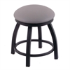 "Holland Bar Stool Co. 802 Misha 18"" Vanity Stool with Black Wrinkle Finish, Allante Medium Grey Seat, and 360 Swivel"
