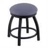 "802 Misha 18"" Vanity Stool with Black Wrinkle Finish, Rein Bay Seat, and 360 Swivel"