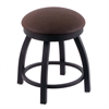"Holland Bar Stool Co. 802 Misha 18"" Vanity Stool with Black Wrinkle Finish, Rein Coffee Seat, and 360 Swivel"
