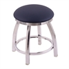 "802 Misha 18"" Vanity Stool with Chrome Finish, Allante Dark Blue Seat, and 360 Swivel"