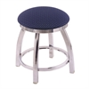 "Holland Bar Stool Co. 802 Misha 18"" Vanity Stool with Chrome Finish, Axis Denim Seat, and 360 Swivel"