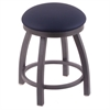 "802 Misha 18"" Vanity Stool with Pewter Finish, Allante Dark Blue Seat, and 360 Swivel"