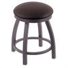 "802 Misha 18"" Vanity Stool with Pewter Finish, Allante Espresso Seat, and 360 Swivel"