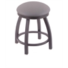 "Holland Bar Stool Co. 802 Misha 18"" Vanity Stool with Pewter Finish, Allante Medium Grey Seat, and 360 Swivel"