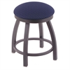 "802 Misha 18"" Vanity Stool with Pewter Finish, Axis Denim Seat, and 360 Swivel"