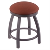 "802 Misha 18"" Vanity Stool with Pewter Finish, Rein Adobe Seat, and 360 Swivel"