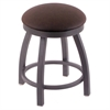 "802 Misha 18"" Vanity Stool with Pewter Finish, Rein Coffee Seat, and 360 Swivel"