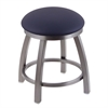 "802 Misha 18"" Vanity Stool with Stainless Finish, Allante Dark Blue Seat, and 360 Swivel"