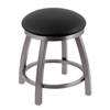 "802 Misha 18"" Vanity Stool with Stainless Finish, Black Vinyl Seat, and 360 Swivel"