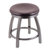 "802 Misha 18"" Vanity Stool with Stainless Finish, Dark Cherry Maple Seat, and 360 Swivel"
