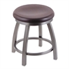 "802 Misha 18"" Vanity Stool with Stainless Finish, Dark Cherry Oak Seat, and 360 Swivel"