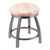 "Holland Bar Stool Co. 802 Misha 18"" Vanity Stool with Stainless Finish, Natural Maple Seat, and 360 Swivel"