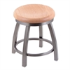 "Holland Bar Stool Co. 802 Misha 18"" Vanity Stool with Stainless Finish, Natural Oak Seat, and 360 Swivel"