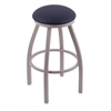 "802 Misha 30"" Bar Stool with Anodized Nickel Finish, Allante Dark Blue Seat, and 360 swivel"